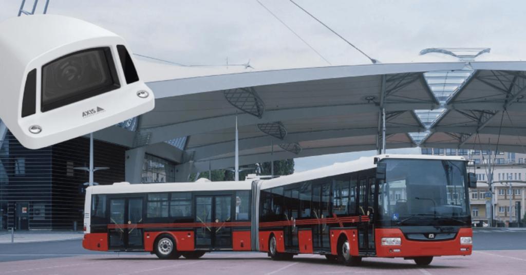 Rot schwarzer Linienbus am Busbahnhof https://www.axis.com/de-de